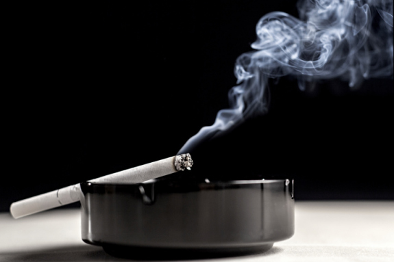 Ashtray cigarette and smoke