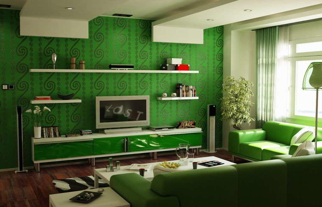 desain-wallpaper-dinding-hijau-dan-furniture