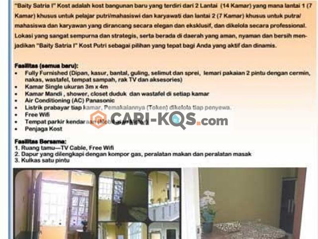 Baity Satria Kost - Dekat RS Antam Medika, Politeknik SOCA, RS Harapan Jayakarta dan GOR Rawamangun