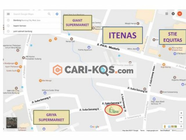 Pondok Putri Sakinah Bandung - Dekat Perguruan Tinggi Itenas, Perguruan Tinggi Equitas, Perkatoran, pertokoan, Kuliner, Perbankan dan kendaraan umum